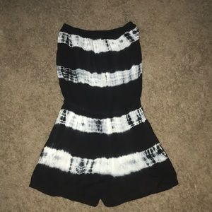 Black and white romper/bathing suit coverup